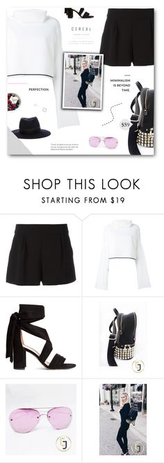 """Julia Jolie Beverly Hills"" by paradiselemonade ❤ liked on Polyvore featuring Boutique Moschino, DKNY and Maison Michel"