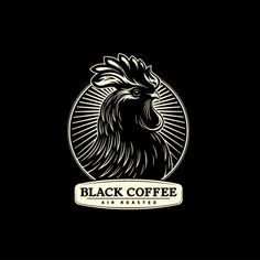 Black Coffee: Air Roasted Logo - Purely greyscale, using only a few separate shades. The rooster, though only created from lines of white and grey, is very complex. The logo conveys a trust that comes with a long-established company.