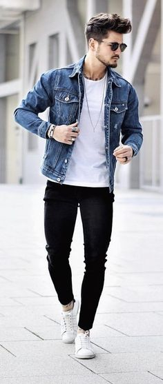 Healthy Men - Fall street wear combo white t-shirt blue denim jacket black skinny denim sunglasses no show socks white sneakers Trendy Mens Fashion, Stylish Mens Outfits, Denim Fashion, Casual Outfits, Fashion Black, Mens Fashion Outfits, Fashion Fashion, Fashion Ideas, Teen Guy Fashion
