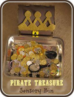 Ha ha, me hearties! Little pirates will enjoy this pirate treasure themed sensory bin.