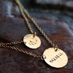 Personalized Hammered Layered Simplicity in 14K Gold Filled - Hand Stamped | Jeneri Jewelry | $69