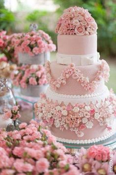 Round Three Layer Cake in Pink and White with Pink and White Flower and Trim and White Bows