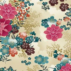 tan with dark pink colorful Asia flower fabric by Andover Asami - Flower Fabric - Fabric - kawaii shop Japanese Patterns, Japanese Prints, Japanese Paper, Japanese Fabric, Large Flowers, Fabric Flowers, Motifs Roses, Art Japonais, Andover Fabrics