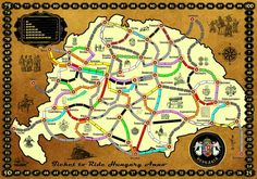 Ticket to Ride Fan Map: Hungary Modern Games, Ticket To Ride, Tabletop Games, Troy, Free Games, Hungary, Game Room, Geography, Fun Things