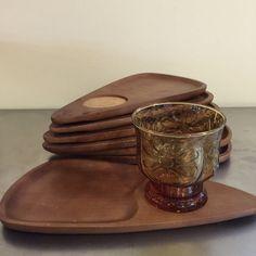Mid Century Modern Snack Trays  Serv Wood  by PineStreetPickers