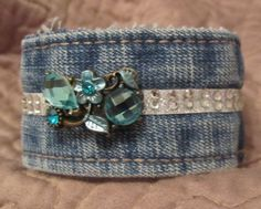 Upcycled Denim Cuff Bracelet from recycled by withlovefrombeth