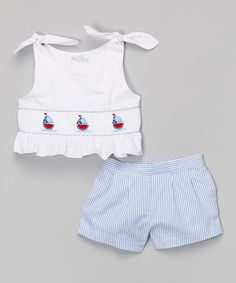 Love this White Smocked Sailboat Tank & Shorts - Infant, Toddler & Girls by Fantaisie Kids on #zulily! #zulilyfinds