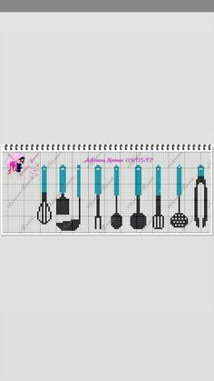 Cross Stitching, Cross Stitch Embroidery, Cross Stitch Patterns, Cross Stitch Kitchen, Cross Stitch Boards, Plastic Canvas, Pixel Art, Needlework, Cutlery