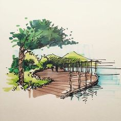 New landscape sketch marker ideas Landscape Architecture Model, Landscape Sketch, Fantasy Landscape, Watercolor Landscape, Modern Landscape Design, Landscape Art, Landscape Paintings, Urban Landscape, Sketch Architecture