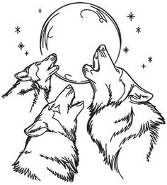Wolf Trio | Urban Threads: Unique and Awesome Embroidery Designs Wood Burning Stencils, Wood Burning Patterns, Wood Burning Art, Animal Coloring Pages, Colouring Pages, Kurt Tattoo, Wolf Stencil, Animal Drawings, Art Drawings