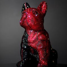 French Bruno by J. French Bulldog, Swarovski, Bling, Sculpture, Christmas Ornaments, Crystals, Holiday Decor, Roses Garden, Art