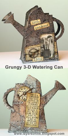 Grungy watering can - Layers of ink, made with Eileen Hull's Sizzix 3-D Watering Can die, foil tape and Stamper's Anonymous stamps.