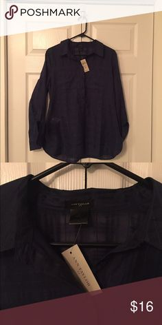"""ANN TAYLOR dark blue blouse NWT Semi-sheer dark blue 1/2 button up shirt by An Taylor.  2 button cuff with roll up strap.  New with tags.  Approx 28"""" long x 19.5"""" across.  2 breast pockets. Ann Taylor Tops Blouses"""