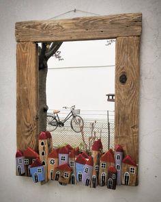 "220 Me gusta, 12 comentarios - Bricioledimare (@armariannamaria52) en Instagram: ""#specchio #mirror #driftwood #village #painter #paintingstones #pebbleart #handmade #fineart…"""