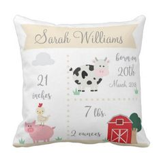 Barnyard Farm Birth Announcement Pillow - baby shower gifts  party giftidea