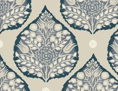 Galbraith & Paul Lotus Wallpaper - Shown in Indigo (Wallpaper Sold By The Yard - 5 Yard Minimum Order) Powder Room Wallpaper, Dining Room Wallpaper, Bathroom Wallpaper, Lotus Wallpaper, Fabric Wallpaper, Large Print Wallpaper, Antique Wallpaper, Textiles, Arabesque