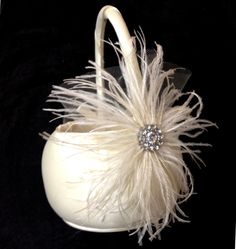 Ivory Flower Girl Ostrich Feather and Satin Wedding Basket.
