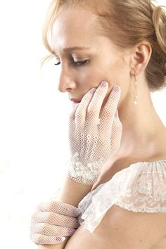 White gloves with vintage beaded lace