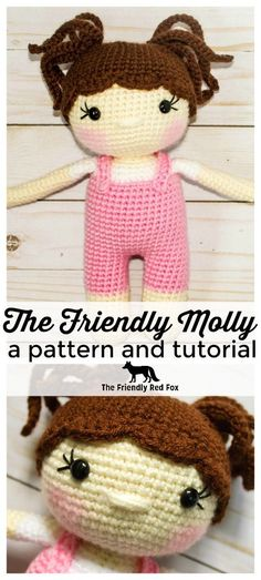 This free crochet doll pattern is a perfect beginner's doll or great to make for gits! This crochet doll is designed for play and cuddles. At 9 inches tall she is just the right size for little hands. The legs, body and head are made in one piece. I share tips on how to keep the head firm as well as add all those cute details!