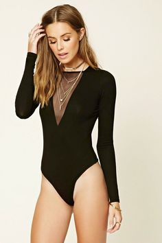 Forever 21 Contemporary - A knit bodysuit featuring a mesh-paneled front, a…