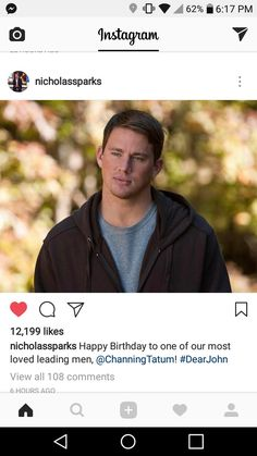Channing Tatum 😍😍 My favorite Nicholas Sparks movie leading man Nicholas Sparks Movies, Lead Men, Dear John, Channing Tatum, My Favorite Things, Instagram