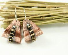 Handmade Mixed Metal Copper and Brass Hoop Earring | WhimOriginals ...