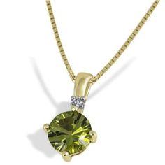 9Ct Yellow Gold Pendant With 1 Peridot And 1 Diamond 0.03 Carat By Goldmaid