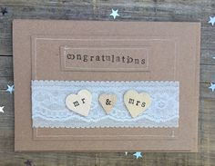 £3.50 Wedding card, congratulations, mr & mrs, newlyweds, handmade by bossy flossys, visit us on facebook and etsy
