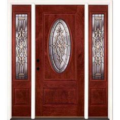 59.5 in.x81.625in.Silverdale Patina 3/4 Oval Lt Stained Cherry Mahogany Rt-Hd Fiberglass Prehung Front Door w/ Sidelites