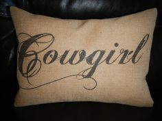 Cowgirl Burlap Pillow Western Accent Cowboy Decor by PolkadotApple, $22.95