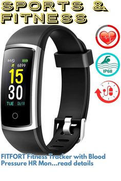 FITFORT Fitness Tracker with Blood Pressure HR Monitor - 2019 Upgraded Activity Tracker Watch with Heart Rate Color Monitor IP68 Pedometer Calorie Counter and 14 Sports Tracking for Women Kids Men ... (This is an affiliate link) #fitnessaccessories