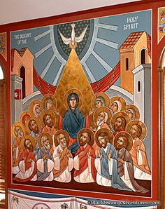Picture of the Pentecost (when the holy Spirit came upon the disciples as tongues of fire)