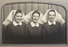 Jessie Lee of Murrayville, B.C. studied nursing at the Royal Columbian Hospital in New Westminster and then joined the armed forces. Lieutenant Nursing Sister Lee cared for the wounded in England, Italy and Holland. Here she is on the left with friends Mary Dowie and Queenie Rutherford. For more: www.elinorflorence.com/blog/canadian-nurses-wartime.