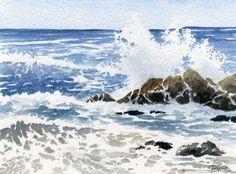 Paysage marin vagues aquarelle signée tirage d'Art par l'artiste DJ Rogers