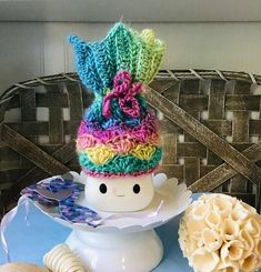 Mermaid marshmallow mug hat for your Rae Dunn collectible Easter Hat Parade, Cute Marshmallows, It's Summertime, Block Craft, Crazy Hats, Tier Tray, Crochet Projects, Farmhouse Decor, Mermaid