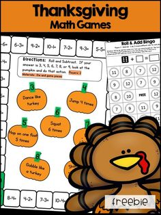 Thanksgiving Math Games Freebie: Addition, Subtraction, and Multiplication First Grade 2nd Grade Math Games, 1st Grade Activities, Multiplication Activities, Math Class, Kindergarten Math, Thanksgiving Classroom Activities, Thanksgiving Activities, Thanksgiving Feast, Holiday Activities