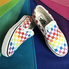 Slip On Rainbow Chex Skate Shoe bright and bold, rainbow vans slip on chex!bright and bold, rainbow vans slip on chex! Vans Sneakers, Tenis Vans, Best Sneakers, Slip On Sneakers, Sneakers Fashion, Vans Socks, Vans Skate Shoes, Vans Fashion, Vans Checkerboard