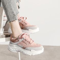 Women Casual Shoes Platform Sneakers Lace Up Tenis Feminino Casual Ladies Sneakers For Women Wedge Sneakers Shoes Woman Casual Shoes Outfit Accessories From Touchy Style Tennis Sneakers, Sneakers Mode, Girls Sneakers, Casual Sneakers, Girls Shoes, Casual Shoes, Wedge Sneakers, Women's Casual, Sneakers Style
