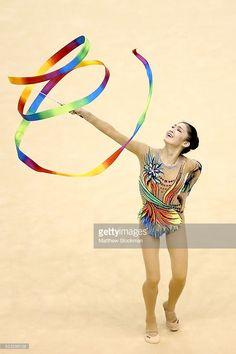 Jiahui Liu of China competes during the Rhythmic Gymnastics Individual All-Around final at the Final Gymnastics Qualifier - Aquece Rio Test Event for the Rio 2016 Olympics - Day 6 at the Rio Olympic Arena on April 22, 2016 in Rio de Janeiro, Brazil.