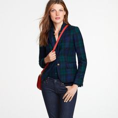 J.Crew Schoolboy Blackwatch Plaid Wool Tartan Plaid Blazer Suit Jacket Sz 8 #JCrew #Blazer