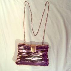"""Spotted while shopping on Poshmark: """"Retro Gold and Black Zebra Evening Bag""""! #poshmark #fashion #shopping #style #Handbags"""