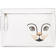 Loewe White & Brown Cat Face Zip Clutch (20.125 ARS) ❤ liked on Polyvore featuring bags, handbags, clutches, cat handbag, white handbags, zip purse, loewe handbags and handbags clutches