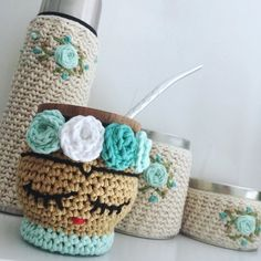 C2c Crochet, Crochet Home, Crochet Patterns, Crochet Coffee Cozy, Crochet Handbags, Baskets On Wall, Crochet Accessories, Crochet Projects, Knitting