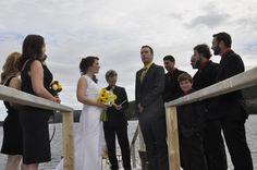 Wedding ceremony on the dock Diy Wedding, Wedding Ceremony, Rustic, Beautiful, Country Primitive, Rustic Feel, Hochzeit, Retro, Farmhouse Style