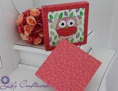 Caixa em MDF (madeira) trabalhada com tecido e patchwork embutido! Coruja
