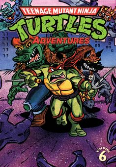 """Teenage Mutant Ninja Turtles Adventures, Vol. 6  Dean Clarrain (w) • Byron Vaughns, Gene Colan, Garret Ho & Ken Mitchroney (a) • Steve Lavigne (c)  The all-ages action continues is the latest collection of TMNT Adventures! This volume introduces the Mighty Mutanimals in their first three-issue series, and also includes Adventures issues #21 and 22, featuring the stories """"Space Junk Face Funk Cyber Punk Thief"""" and """"Rat Trap!""""  TPB • FC • $19.99"""