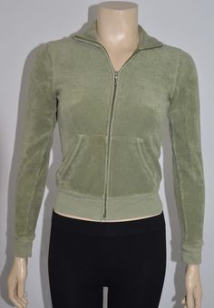 Juicy Couture Cotton Blend Green Zipper Women's Jacket Size Small On Sale ss #JuicyCouture #BasicJacket