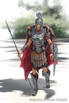 Imperial Armor Female concept art from The Elder Scrolls V: Skyrim by Adam Adamowicz
