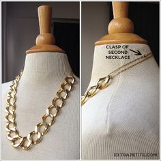Using a smaller chain necklace in the same color as the original one, I made a little extender. This is an easy and temporary way to change up the look of your shorter necklaces.