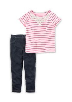 Carters  2-Piece Striped Tee and Jeggings Set Girls 4-6x